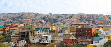 pablo neruda: Colorful buildings on the hills of the UNESCO World Heritage city of Valparaiso, Chile