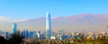 Aerial view of the financial district at Santiago de Chile