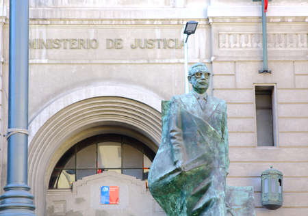 salvador allende: SANTIAGO, CHILE - JUNE 15, 2015: Monument to Salvador Allende Gossens in Santiago. Chile Editorial