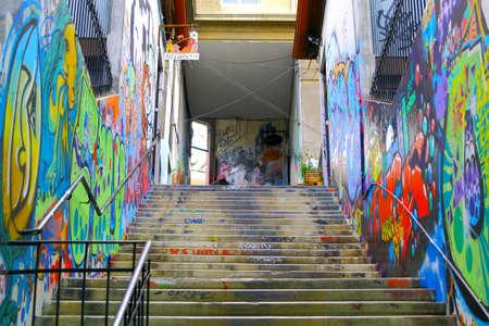 valparaiso: VALPARAISO - JUNE 10: Street art graffiti in Concepcion and Alegre districts of the protected UNESCO World Heritage Site of Valparaiso on June 10, 2015 in Valparaiso, Chile