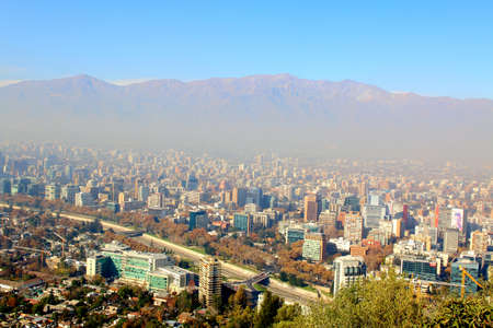 andes mountain: Aerial view of a city and The Andes mountain in the background, Santiago, Chile