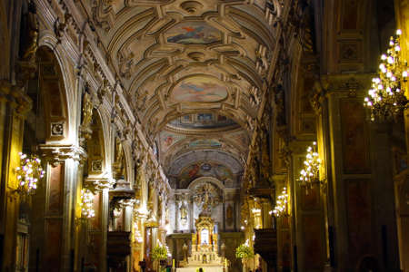vaulted ceiling: SANTIAGO, CHILE - JUNE 15: Metropolitan Cathedral of Santiago vaulted ceiling in Santiago, Chile. Built in 1748 - 1800