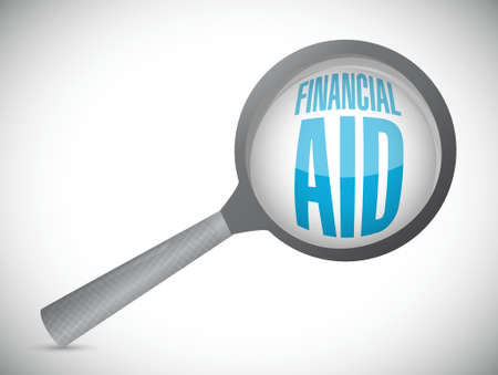 financial aid: financial Aid magnify sign concept illustration design graphic