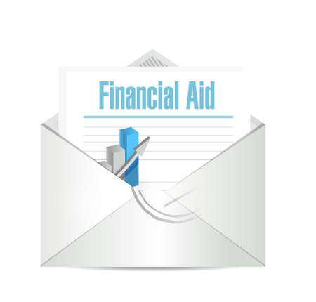 financial aid: financial Aid mail sign concept illustration design graphic