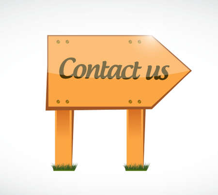 contact information: contact us wood sign concept illustration design graphic Illustration