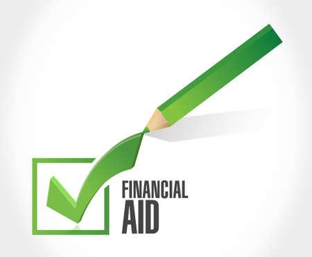 check sign: financial Aid check mark sign concept illustration design graphic