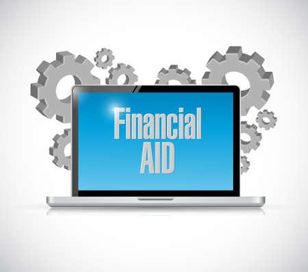 financial aid: financial Aid computer laptop sign concept illustration design graphic