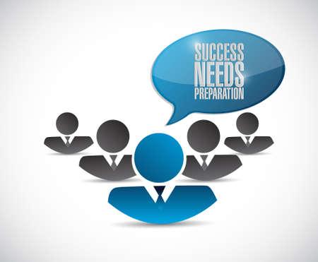 strategic focus: success needs preparation teamwork sign concept illustration design Illustration
