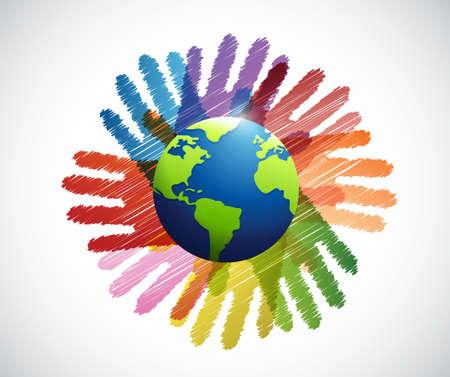 hands international diversity colors illustration design over white Illustration