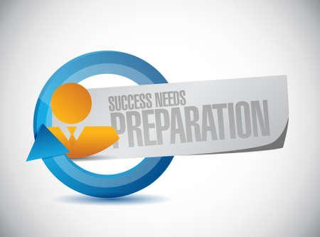 strategic focus: success needs preparation people sign concept illustration design Illustration