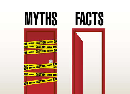 misleading: facts open door concept illustration design graphic