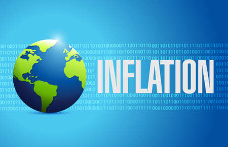 binary globe: inflation globe binary sign concept illustration design graphic