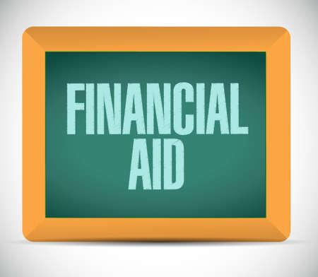 financial aid: financial Aid board sign concept illustration design graphic Illustration