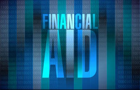 financial Aid binary sign concept illustration design graphic