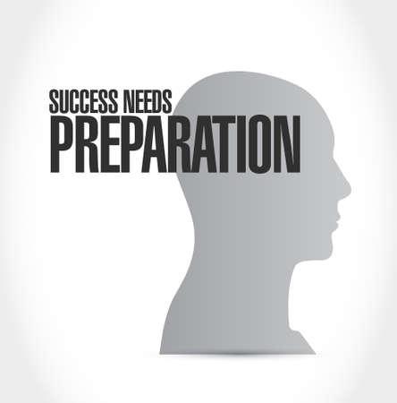 pensamiento estrategico: éxito necesita preparación mentalidad concepto de ilustración signo de diseño Vectores