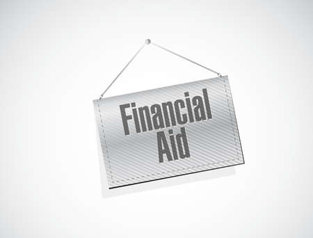 financial aid: financial Aid hanging banner sign concept illustration design graphic Illustration