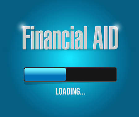 financial aid: financial Aid loading bar sign concept illustration design graphic