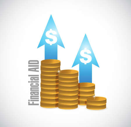 financial aid: financial Aid coin graph sign concept illustration design graphic Illustration