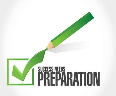 check mark sign: success needs preparation check mark sign concept illustration design