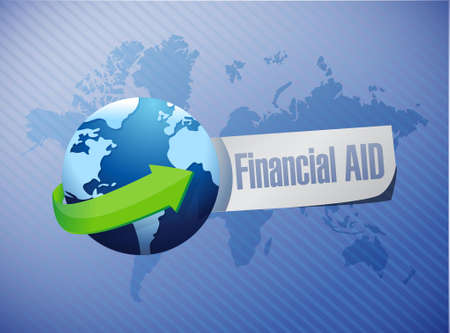 financial aid: financial Aid international sign concept illustration design graphic