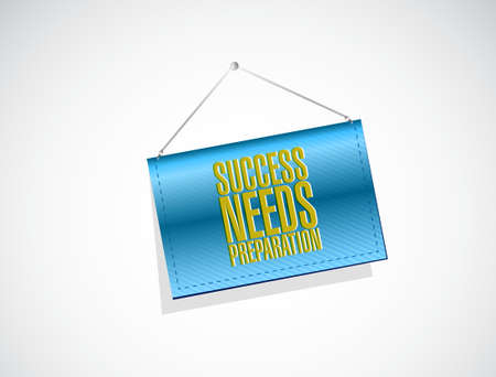 success needs preparation hanging sign concept illustration design 向量圖像