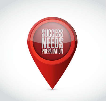 winning location: success needs preparation pointer sign concept illustration design Illustration