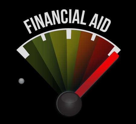 financial aid: financial Aid speedometer sign concept illustration design graphic Illustration