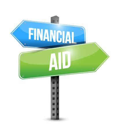 ring road: financial Aid road sign concept illustration design graphic Illustration