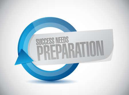 success needs preparation cycle sign concept illustration design