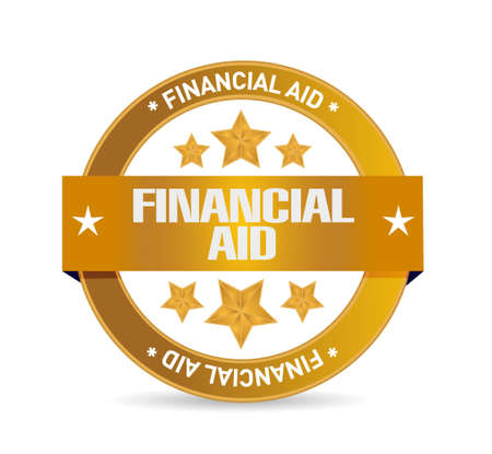 financial aid: financial Aid seal sign concept illustration design graphic