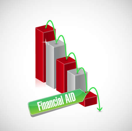 financial aid: falling financial Aid business graph sign concept illustration design graphic