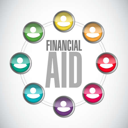 mensen kring: mensen financiële hulp cirkel teken concept illustratie grafisch