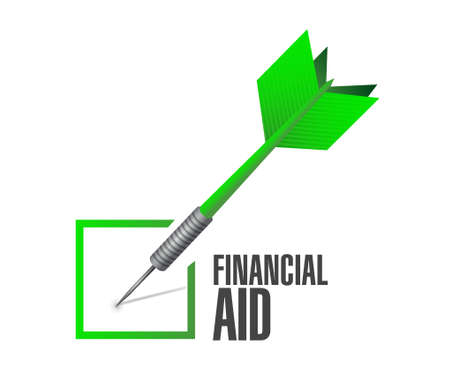 financial aid: financial Aid check dart sign concept illustration design graphic