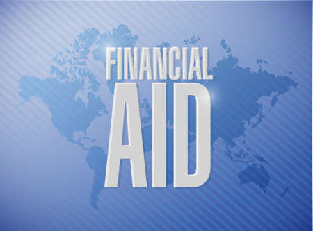 financial aid: financial Aid world sign concept illustration design graphic