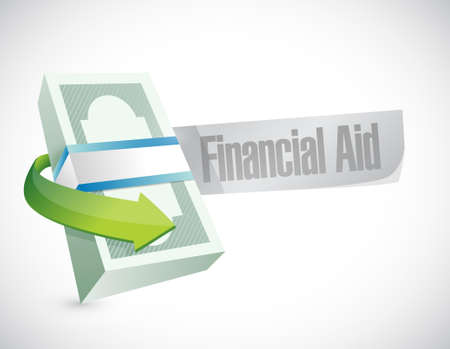 financial aid: financial Aid bills sign concept illustration design graphic