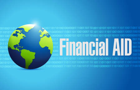 dipping: financial Aid international globe sign concept illustration design graphic