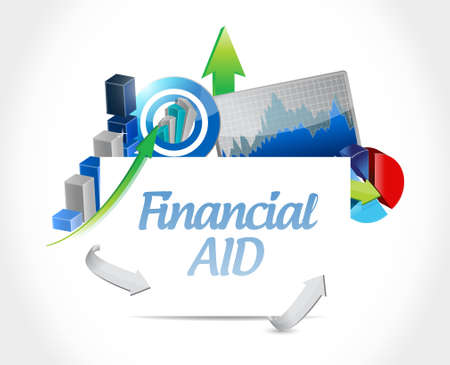 financial aid: financial Aid business graph charts sign concept illustration design graphic