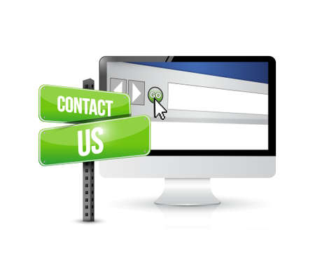 marketting: contact us computer sign concept illustration design graphic Illustration