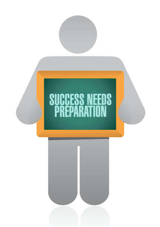 success needs preparation avatar board sign concept illustration design