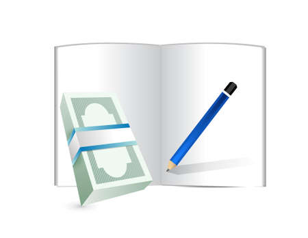 losing money: money, notepad and pen illustration design over white