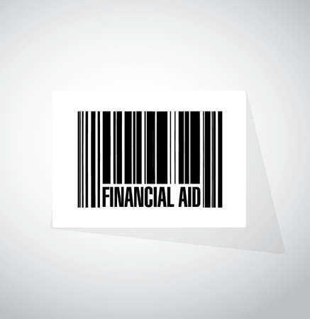 financial aid: financial Aid barcode sign concept illustration design graphic Illustration