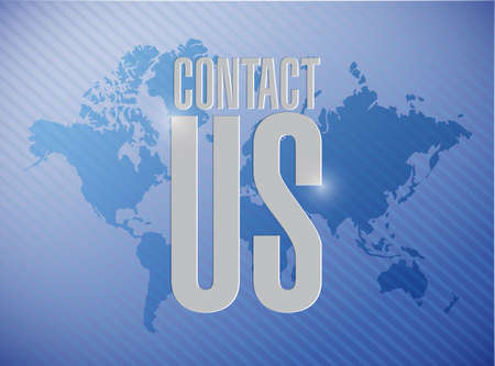 contact us world map sign concept illustration design graphic