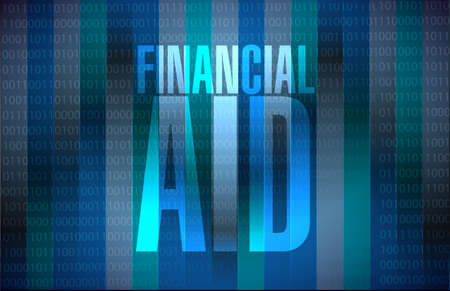 financial aid: financial Aid binary sign concept illustration design graphic