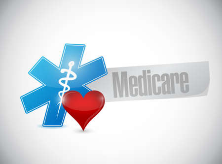 outpatient: Medicare medical symbol sign illustration design over white Illustration