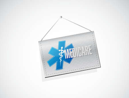 nhs: Medicare hanging sign illustration design over white Illustration
