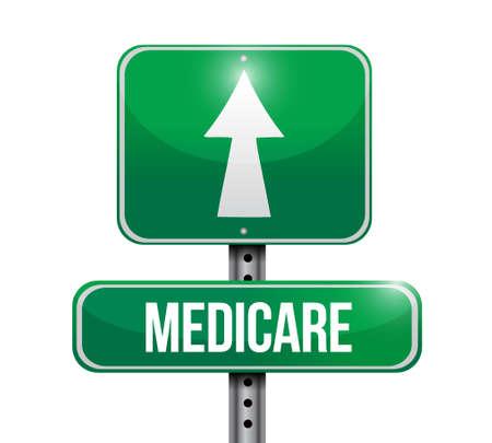 medicare: Medicare road sign illustration design over white Illustration