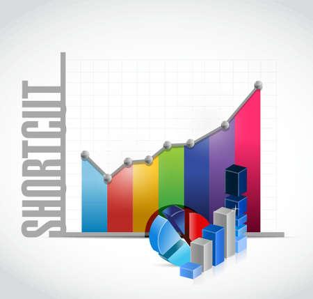 cut short: Shortcut business color graph sign concept illustration design graphic