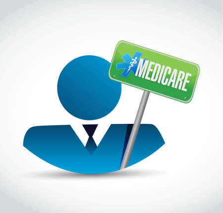 outpatient: Medicare business avatar sign concept illustration design over white