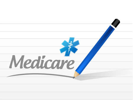 nhs: Medicare message sign illustration design over white