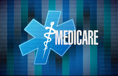 outpatient: Medicare binary sign concept illustration design over black